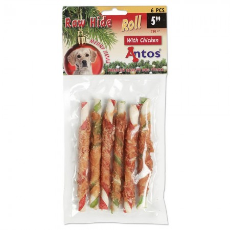 "Raw Hide White + Chicken Roll 5"" 6 stuks - Xmas"