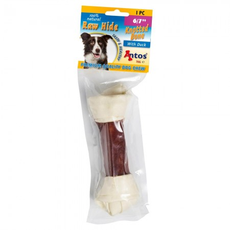 Raw Hide White + Duck Knotted Bone 6/7 1 pce