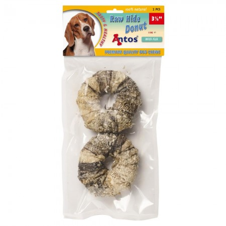 "Raw Hide White + Fish Donut 3½"" 2 pcs"