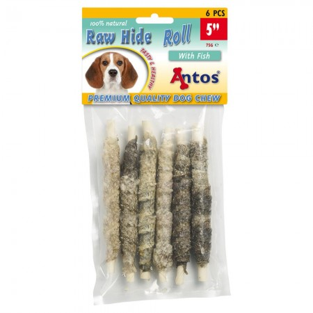 Raw Hide White + Fish Roll 5'' 6 pces
